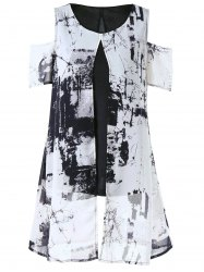 Ink Painting Cold Shoulder Slit Overlay Blouse - BLACK + WHITE