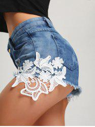 Ripped Frayed Hem Mini Denim Shorts - BLUE