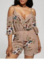Floral Ruffle Cold Shoulder Romper