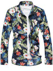 Tropical Floral Print Long Sleeve Shirt - BLUE