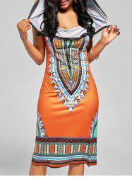 Hooded African Style Midi Dress