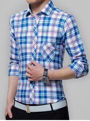 Pocket Grid Checkered Long Sleeve Shirt