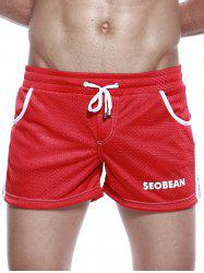 Graphic Print Drawstring Openwork Sport Shorts