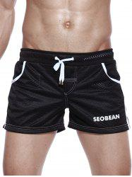 Graphic Print Drawstring Openwork Sport Shorts - BLACK L