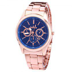 Alloy Strap Date Number Quartz Watch - BLUE