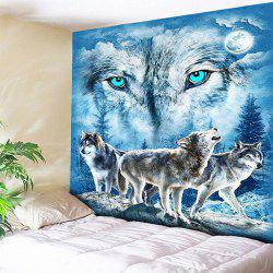 Wall Hanging Snowy Night Wolves Tapestry - Bleu