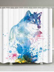 Bathroom Watercolor Wolf Shower Curtain with Hooks