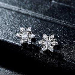 Faux Diamond Tiny Hexagram Flower Stud Earrings
