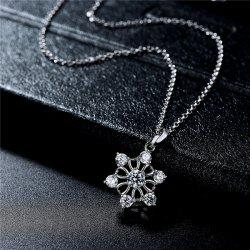 Faux Diamond Hexagram Floral Pendant Necklace