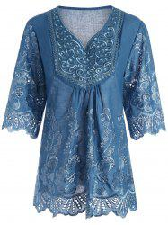 Plus Size V Neck Embroidered Blouse - Peacock Blue - 2xl