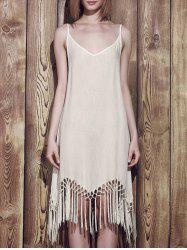 Tassels Flapper Summer Slip Dress - WHITE