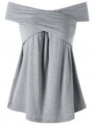 Criss Cross Off the Shoulder Tee - Gris