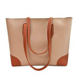Faux Leather Shopper Bag with Clutch Bag - APRICOT