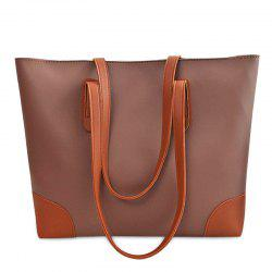 Faux Leather Shopper Bag with Clutch Bag - COFFEE