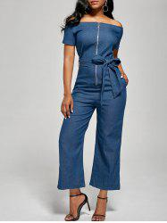 Off The Shoulder Zippered Denim Jumpsuit