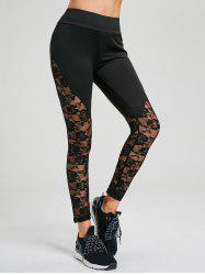 Lace Trim Ankle Yoga Pants - BLACK