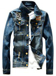 Button Fly Destroyed Denim Jacket - DENIM BLUE