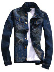 Button Fly Distressed Denim Jacket - DEEP BLUE