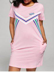 Stripe Panel T-shirt Shift Sleep Dress