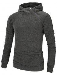 Oblique Zip Up Design Raglan Sleeve Hoodie