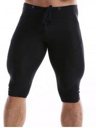 Drawstring Waist Tight Sport Shorts - BLACK