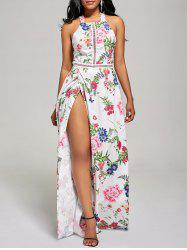 Maxi Floral Backless High Slit Beach Dress - WHITE M