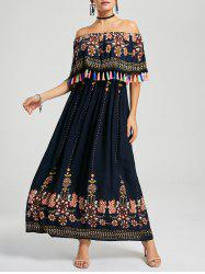 Tassel Off The Shoulder Maxi Boho Dress - PURPLISH BLUE M