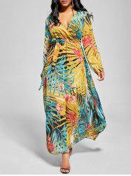 Chiffon V Neck Maxi Dress with Sleeves -