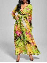 Chiffon V Neck Maxi Dress with Sleeves - GREEN S