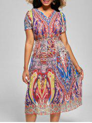 Drawstring Printed Chiffon Dress