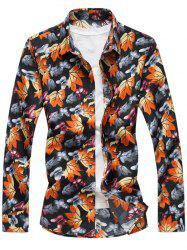 Allover Leaves Print Long Sleeve Shirt