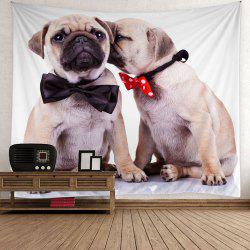 Home Decor Puppy Bowknot Print Wall Hanging Tapestry