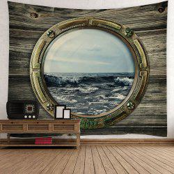 Home Decor Porthole with Sea View Wall Tapestry - Dark Gray Green - W59 Inch * L51 Inch