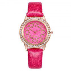 Rhinestone Heart Faux Leather Strap Quartz Watch