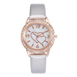 Heart Rhinestone Faux Leather Strap Glitter Watch