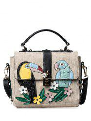 Parrot and Flower Patches Weave Crossbody Bag - BLACK