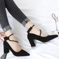 Point Toe Suede Block Heel Pumps