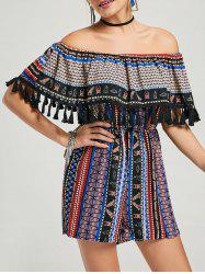 Tassel Ruffle Off The Shoulder Boho Romper - Multi XL
