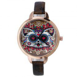 Flower Cat Face Faux Leather Number Watch