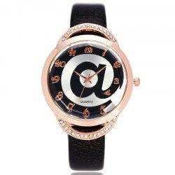 Symbol Face Faux Leather Strap Number Watch