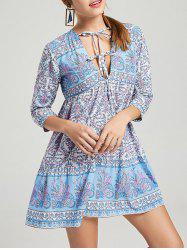 V Neck Lacing Loose Fit Printed Dress