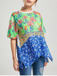 High Low Floral Print Slit T-shirt
