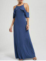 Ruffle Maxi Cold Shoulder Dress