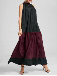 Two Tone Sleeveless Maxi Casual Dress
