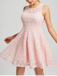 Lace Sleeveless Mini Cocktail Dress - PINK