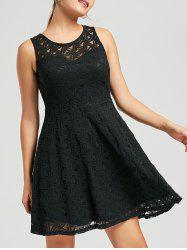 Lace Sleeveless Mini Cocktail Skater Dress - BLACK