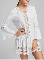 Long Sleeve Lace Trim Tunic Skater Dress