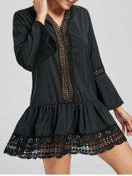 Long Sleeve Lace Trim Tunic Skater Dress -