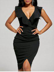 Plunge Ruffle Bodycon Dress - BLACK