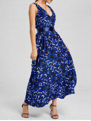Rose Print Backless Maxi Dress - DEEP BLUE